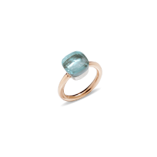 Ring Nudo Classic - Rose Gold 18kt, White Gold 18kt, Blue Topaz