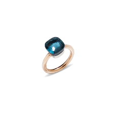 Ring Nudo Classic - Rose Gold 18kt, White Gold 18kt, Blue London Topaz