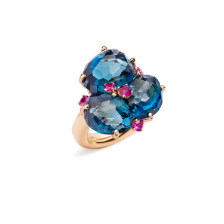 Ring Bahia - Rose Gold 18kt, Blue London Topaz, Pink Sapphire