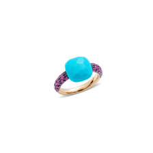 Ring Capri - Rose Gold 18kt, Turquoise, Ruby
