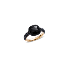 Ring Capri - Rose Gold 18kt, Onyx, Treated Black Diamond