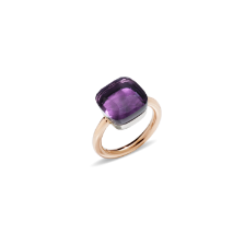 Ring Nudo Maxi - Rose Gold 18kt, White Gold 18kt, Amethyst