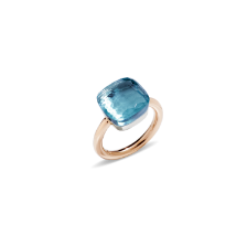 Bague Nudo Maxi - Or Rose 18kt, Or Blanc 18kt, Topaze Bleue