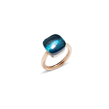 Bague Nudo Maxi - Or Rose 18kt, Or Blanc 18kt, Topaze Bleue London