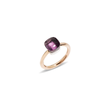 Ring Nudo Petit - Rose Gold 18kt, White Gold 18kt, Amethyst