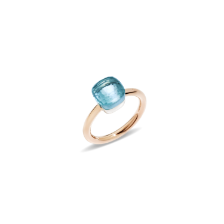 Ring Nudo Petit - Rose Gold 18kt, White Gold 18kt, Blue Topaz