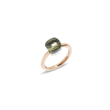 Ring Nudo Petit - Rose Gold 18kt, White Gold 18kt, Prasiolite