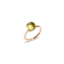 Ring Nudo Petit - Rose Gold 18kt, White Gold 18kt, Lemon Quartz