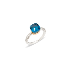 Nudo Petit Ring - White Gold 18kt, Rose Gold 18kt, Blue London Topaz, Turquoise, Diamond