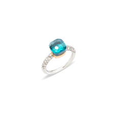 Nudo Petit Ring - White Gold 18kt, Rose Gold 18kt, Blue Topaz, Agate, Diamond