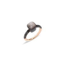 Ring Nudo - Rose Gold 18kt, Obsidian, Treated Black Diamond