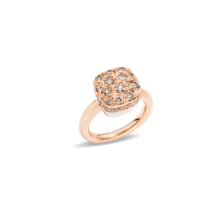 Ring Nudo Solitaire - Rose Gold 18kt, White Gold 18kt, Brown Diamond