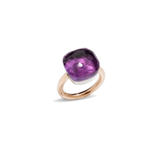 Ring Nudo Assoluto - Rose Gold 18kt, White Gold 18kt, Amethyst