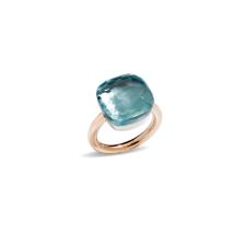 Ring Nudo Assoluto - Rose Gold 18kt, White Gold 18kt, Blue Topaz