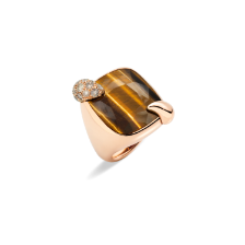 Ring Ritratto - Rose Gold 18kt, Tiger Eye, Brown Diamond