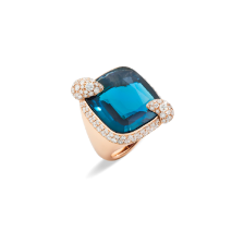 Ring Ritratto - Roségold 18kt, London Blu Topas, Diamant
