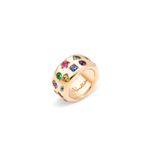 Bague Iconica Color Maxi - Or Rose 18kt, Tourmaline Rouge, Saphir Orange, Saphire Bleu, Spinelle, Tanzanita, Rubis