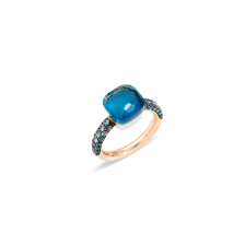 Ring Nudo Deep Blue - Rose Gold 18kt, White Gold 18kt, Blue London Topaz, Turquoise, Blue Topaz