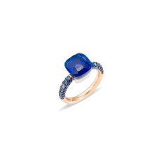 Ring Nudo Deep Blue - Rose Gold 18kt, White Gold 18kt, Blue London Topaz