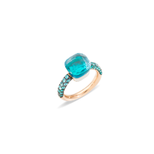 Ring Nudo Deep Blue - Rose Gold 18kt, White Gold 18kt, Blue Topaz, Agate