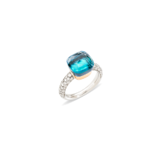 Nudo Classic Ring - White Gold 18kt, Rose Gold 18kt, Blue Topaz, Agate, Diamond