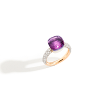 Ring Nudo Classic - Rose Gold 18kt, White Gold 18kt, Amethyst, Diamond