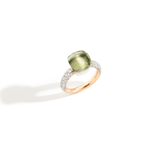 Ring Nudo Classic - Rose Gold 18kt, White Gold 18kt, Prasiolite, Diamond