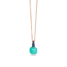 Pendant With Chain Capri - Rose Gold 18kt, Chrysoprase, Blue Sapphire