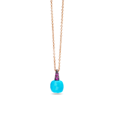 Pendant With Chain Capri - Rose Gold 18kt, Turquoise, Ruby