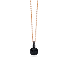 Pendant With Chain Capri - Rose Gold 18kt, Onyx, Treated Black Diamond