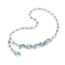 Necklace Bahia - White Gold 18kt, Aquamarine, Diamond