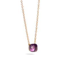 Pendant With Chain Nudo - Rose Gold 18kt, White Gold 18kt, Amethyst