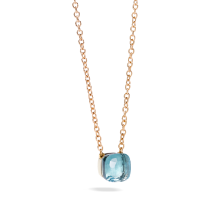 Pendant With Chain Nudo - Rose Gold 18kt, White Gold 18kt, Blue Topaz