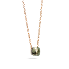 Pendant With Chain Nudo - Rose Gold 18kt, White Gold 18kt, Prasiolite