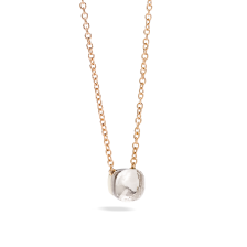 Pendant With Chain Nudo - Rose Gold 18kt, White Gold 18kt, White Topaz