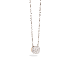 Pendant With Chain Nudo - Rose Gold 18kt, White Gold 18kt, Diamond