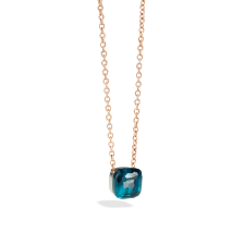 Pendant With Chain Nudo - Rose Gold 18kt, White Gold 18kt, Blue London Topaz