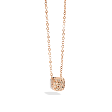 Pendant With Chain Nudo - Rose Gold 18kt, White Gold 18kt, Brown Diamond