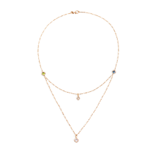 Necklace M'Ama Non M'Ama - Rose Gold 18kt, Diamond, Peridot, Adularia, Blue London Topaz