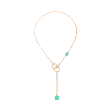 Nudo Lariat Necklace - White Gold 18kt, Rose Gold 18kt, Diamond, Blue Topaz, Chrysoprase