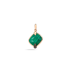 Pendant Without Chain Ritratto - Rose Gold 18kt, Malachite, Treated Black Diamond