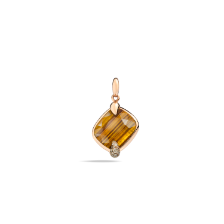 Pendant Without Chain Ritratto - Rose Gold 18kt, Tiger Eye, Brown Diamond