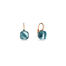 Earrings Nudo Classic - Rose Gold 18kt, White Gold 18kt, Blue Topaz