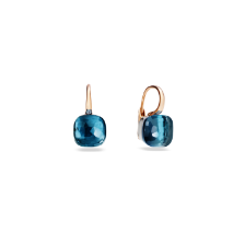 Earrings Nudo Classic - Rose Gold 18kt, White Gold 18kt, Blue London Topaz