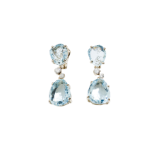 Earrings Bahia - White Gold 18kt, Aquamarine, Diamond