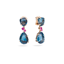 Earrings Bahia - Rose Gold 18kt, Blue London Topaz, Pink Sapphire