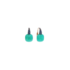 Earrings Capri - Rose Gold 18kt, Chrysoprase, Blue Sapphire