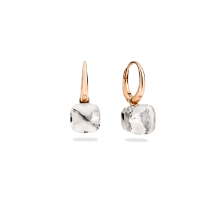Earrings Nudo Petit - Rose Gold 18kt, White Gold 18kt, White Topaz