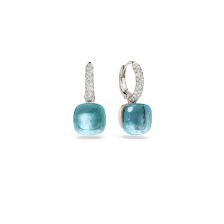 Boucles D'Oreilles Nudo - Or Rose 18kt, Or Blanc 18kt, Topaze Bleue