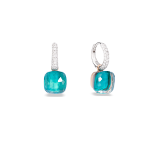 Nudo Classic Earrings - White Gold 18kt, Rose Gold 18kt, Blue Topaz, Agate, Diamond